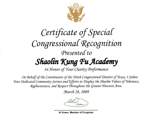Awards houston shaolin academy 2009 certificate of special congressional recognition 2009 charity yadclub Image collections