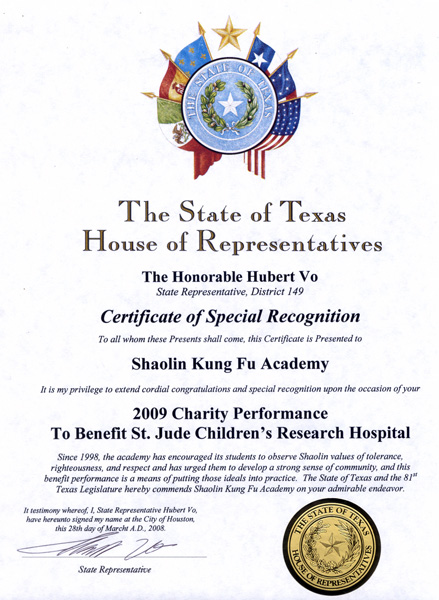 Awards houston shaolin academy 2009 certificate of special congressional recognition 2009 charity performance st jude childrens research hospital yadclub Image collections