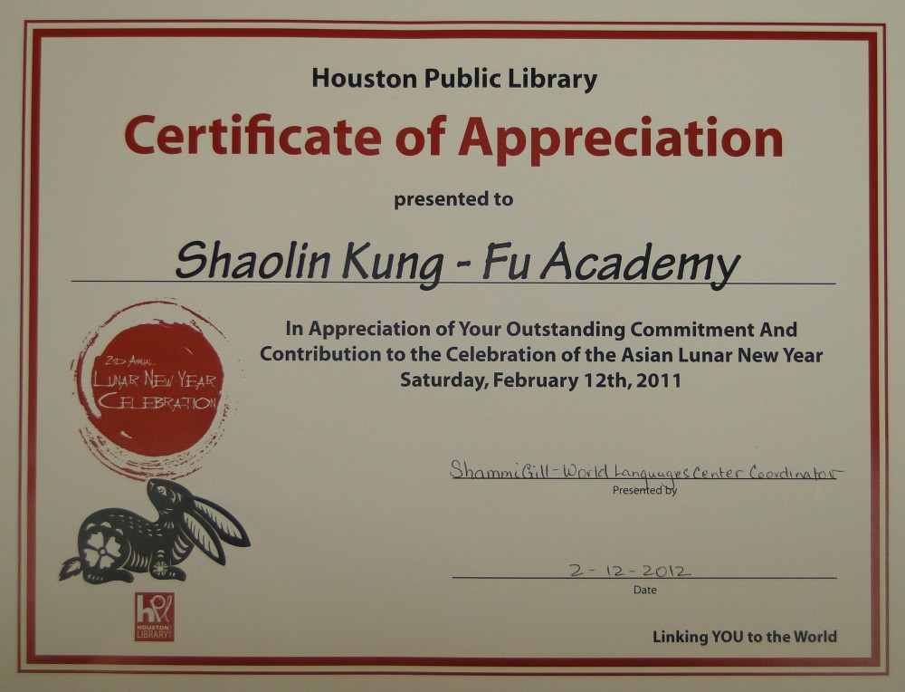 Awards houston shaolin academy 2011 houston public library certificate of appreciation yadclub Choice Image